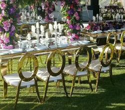 Moderno mobiliário branco clássico caso Metal Hall Hotel Chiavari Banquetes Cadeira de Casamento Gold Restaurante mesa de jantar cadeiras