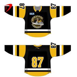 Les hommes de la Glace Hockey sur glace en plein air Jersey Chemises Sportswear jaune et noir de l'usure de hockey de la classe à chaud