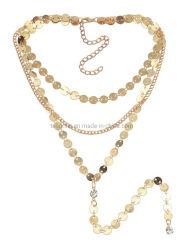 La bisutería metálica Bisutería disco redondo Collar de la capa de chapado en oro de la playa de Casual Collares Collar de Joyas joyas de cristal