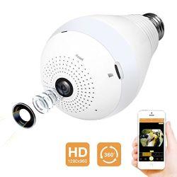 """Wireless WiFi камеры 960p HD для установки внутри помещений дома монитор со светодиодной лампы ночного видения двусторонняя аудио обнаружения движения и широким углом обзора 360 градусов панорамная камера """"рыбий глаз"""""""
