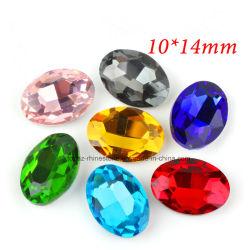 형식 보석 (Pb 타원형) 타원형 모조 다이아몬드 유리 구슬 점 뒤 수정같은 모조 다이아몬드