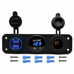 Tripla Função Dupla carregador USB + Voltímetro LED + 12V Panel Mount tomada DC para dispositivos digitais Celular Tablet