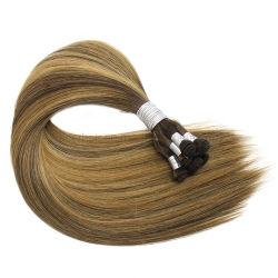 Европейского сырья Virgin продление Cuticle русые волосы Weft Handtied волос человека
