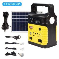 Système d'éclairage solaire 10W 3 Voyants, panneau solaire, batterie, la radio FM, lecteur MP3