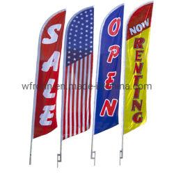 Venda quente Poliéster Impressão Ad Visor do equipamento de praia em forma de lágrima barato Bandeira de penas