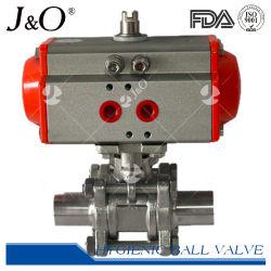위생적인 스테인리스 스틸 버트 용접 공압 3PCS 볼 밸브 액추에이터 포함