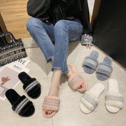 Commerce de gros de la fourrure douce pantoufles de diapositives, des prix bon marché Mesdames les sandales, les Loisirs Les femmes de plein air pantoufles