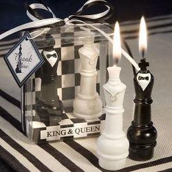 Los Novios de ajedrez de diseño de Bodas velas recuerdos