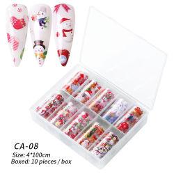 8 styles 10pcs/boîte Noël&Halloween Nail Art Autocollant accessoire pour la décoration de la beauté des ongles