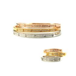 Bracelete Bangles Zircon incorporado belas jóias de prata dourada Rose Gold