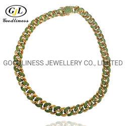 Hotsale banhado a ouro de 18K Hiphop jóias 12mm Link gelada cadeia cubanos de Miami para homens de Panyu Jóias Fabricante