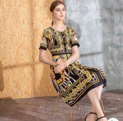 2020 نساء جديدة تصميم نمط طبعة نحيلة [هيغ-ند] [شورت-سليف] ثوب