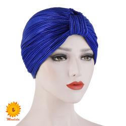 イスラム教徒食の帽子の女性の′ s の方法はルーレックス Hijab 固体を 頭部 Scarf の覆いは Shawls の上の Knot 女性癌の帽子アフリカ人 ヘッドウェア