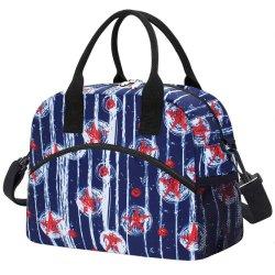 Grande reutilizável isolada do Refrigerador durável Saco de almoço para Mulheres Homens Tote bolsa com alça de ombro ajustável para trabalho de escritório School-Black Flower
