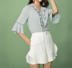 Le design de mode cou volant autour de chemise à manches longues femme Bureau chemisier Vêtements d'usure