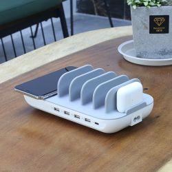 5 Port USB Support Multi-station de charge de chargeur de bureau Dock avec chargeur 10W Qi