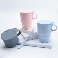 Prendas de Natal 300ml caneca de Silicone dobrável para viagens Colapsáveis Office chávena de café com tampa de palha o logotipo personalizado caneca de água Cup