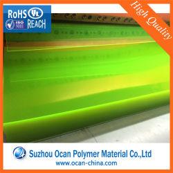 Folha de PVC rígido amarelo fluorescente para lentes e Hat plano rasante