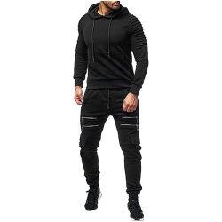 Мужчин в 2pcs черный тонкий установите втулку длиной Худи и брюки черного цвета контакт подходит для повседневной спортивной одежды марки моды роскошь мужчин с молнией сшивания скобками,
