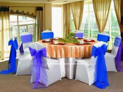 Evento de casamento grossista Banquetes Tampa Cadeira de licra branco da tampa da mesa de poliéster (YC-805)