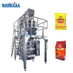 Macchina imballatrice di forma/riempimento/saldatura verticale di pesatura automatica di Vffs del granello di Samfull con il pesatore di Multihead per i chicchi di caffè degli spuntini della pasta delle patatine fritte