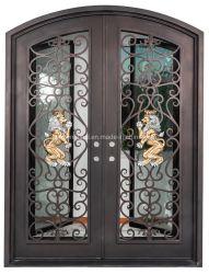 Las puertas de hierro forjado con pantalla de cristal y Lowe, para la entrada