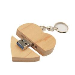 Regali di legno dell'amante del biglietto di S. Valentino del disco istantaneo dell'azionamento della penna del USB di figura del cuore