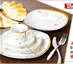 Custom 20PCS Quadrada Louça de cerâmica vidrada conjuntos de jantar de porcelana