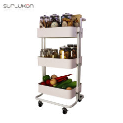 Cuisine panier de stockage évolutif de métaux lourds du bac de l'Organiseur de Rack rack Mobile chariot pour l'alimentation