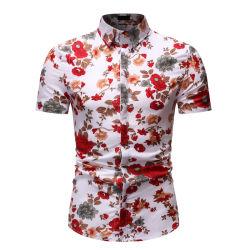 고리 하와이 작풍 간결 소매 셔츠를 도십시오 아래로