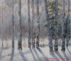 El arte de pared Abedul de invierno hechas a mano en tela pintura al óleo