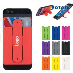 Manicotto di sacchetto su ordinazione della carta di credito della sezione del telefono mobile del silicone di marchio