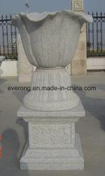 Sculpture en pierre naturelle à bas prix en granit Pot de fleurs avec socle
