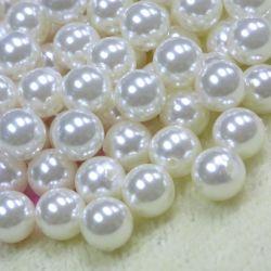 Usine de la moitié de gros trou noir/blanc/Golden ronde perles ABS lâche de la moitié percés