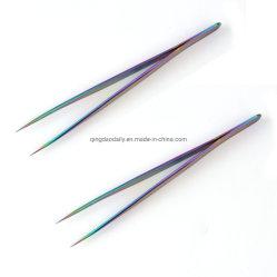 Straight & Curved pinças para a arte de unhas falsas Eyelash pinças de Extensão