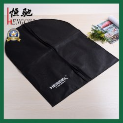 Lo stile semplice Zippered il sacchetto non tessuto del coperchio dell'indumento del polipropilene di TNT stampato il nero