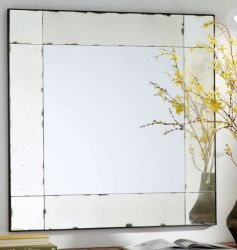 36인치 현대식 목재 원형 앤틱 및 판넬형 유리 벽 거울; 36X36