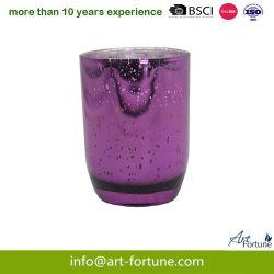 Bougie en verre parfumée de haute qualité avec placage argent intérieure et de solides en spray pour la décoration intérieure.