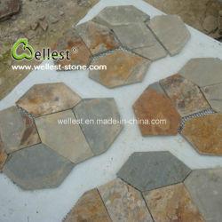Наружные защитные элементы из природного камня тротуара деревенском Slate Flagstone