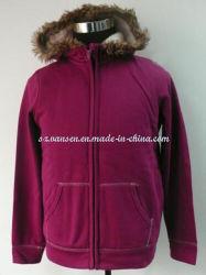 Purple-Red Kangroo thermique d'hiver Sportswear avec Pocket et le capot