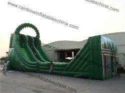 Tuta Scorrevole Gonfiabile 21x6x10m Green Color Jungle Giant Zip Line Per Adulti E Bambini