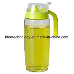 Óleo de cozinha de vidro Garrafa de molho de vinagre garrafas de soja com pega de plástico