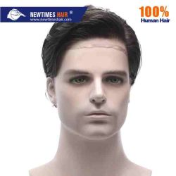 Stock Natural Loan Hairline Indian Human Hair Lace Toulpee for Men