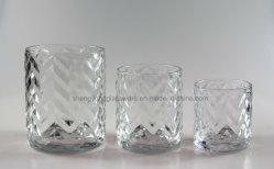 Supporti di candela di vetro dei vasi della candela di vetro modellato dell'onda impostati