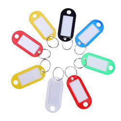 安いプラスチックキーの札はリング、個人的なキーチェーンの名前の札が付いている色 ID のラベル名の札を混合する