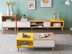 Standplatz moderne nordische einfache Tee-Tisch Fernsehapparat-Schrank-kleine Familien-Wohnzimmer-Farben-abgleichender Tee-Tisch-Kombination Fernsehapparat-Cabinet/TV