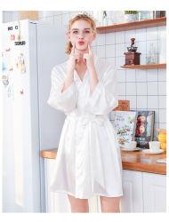 2020 nouveau pyjama en soie de Glace Les Femmes de l'été Robe de nuit robe en soie peignoir matin impression de taille plus Accueil Service5