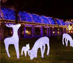 점화된 휴일 빛 옥외 순록 크리스마스 불빛 옥외 크리스마스 순록 빛