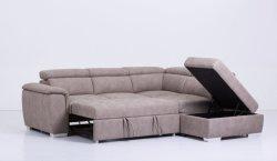 Transversal en forma de L Sofa cama de cuero con almacenamiento
