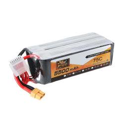 Descarga de Alta 75c 22,2 V Bateria Lipo 5500mAh RC Bateria de lítio